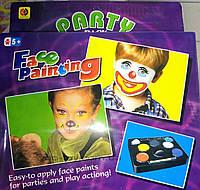 Грим-краска для лица 5+1 цветов, в наборе также кисточка и спонжик, подходит для детей, фото 1