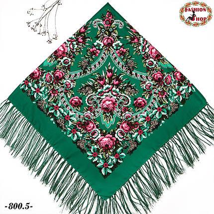 Павлопосадская зелёная шаль Непревзойдённая роспись, фото 2