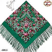 Павлопосадская зелёная шаль Непревзойдённая роспись