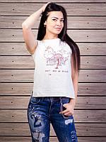 Стильная женская футболка с прорезями на спинке p.42-50 VM1960-1