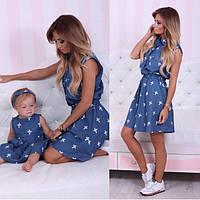 Платье  джинс мама + дочка крестик
