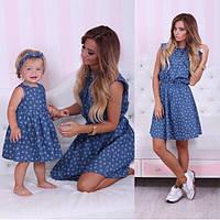 Платье  джинс мама + дочка мики