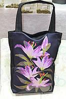 Заготовка под сумку Цветы Черная