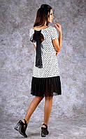 Женское трикотажное платье в горошек с оборками Poliit №8384