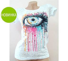 Женская длинная футболка с абстрактнім принтом Глаз, белая / футболка абстрактная, длинная, на короткий рукав
