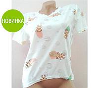Женская белая футболка короткая с рисунком / женская стильная футболка, белая 2017