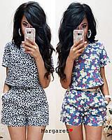 Женский летний костюм-двойка топ и шорты в расцветках