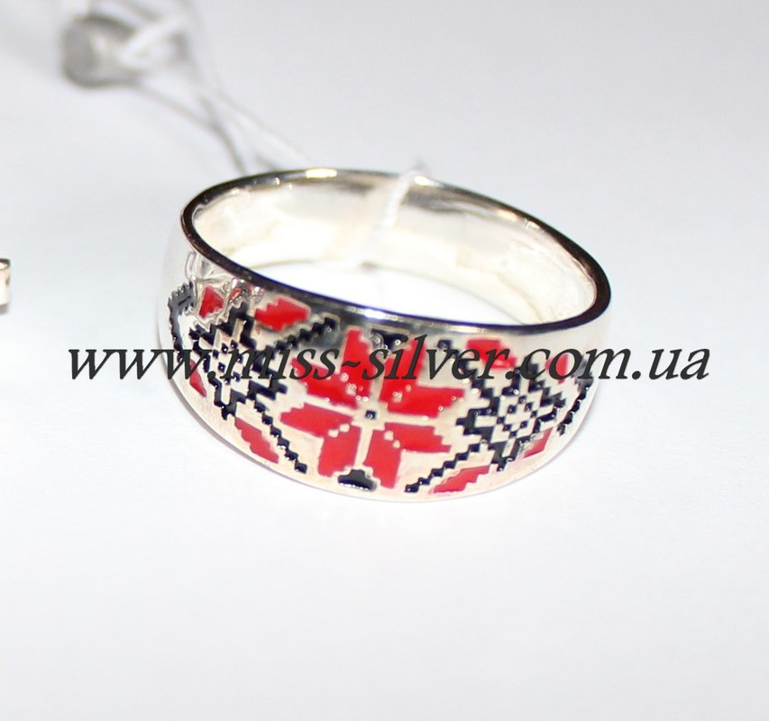 Кольцо Вышиванка с эмалью