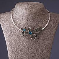 Колье на обруче Цветок голубой кристаллик цвет металла-серебро L-46см