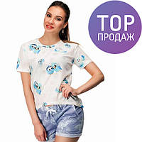 Женская белая футболка с рисунком Птички / женская модная короткая футболка