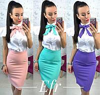 Стильный женский костюм (юбка карандаш + рубашка)