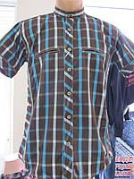Рубашка мужская летняя в коричневую клетку, р. S, М, XL код 1076М