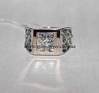 Перстень серебряный с золотом Архангел Михаил