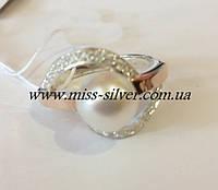 Кольцо серебро с белым жемчугом Кармен