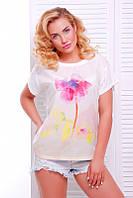 Модная женская молочная футболка с принтом Air ТМ  Fashion UP 42-56 размеры