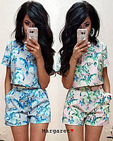 женский летний костюм-двойка шорты и топ в расцветках