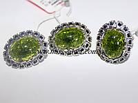Набор с зеленым янтарем из серебра Камелия