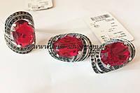 Комплект серебряный с красным цирконом Шикк