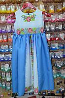 Детское платье бело голубое 6-8 лет