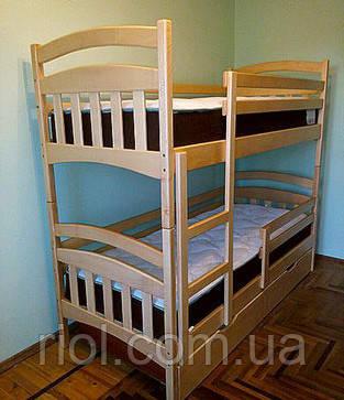 Двох'ярусне ліжко трансформер Бембі з масиву бука
