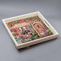 """Поднос из дерева с керамической плиткой """"цветы, велосипед, кот"""""""