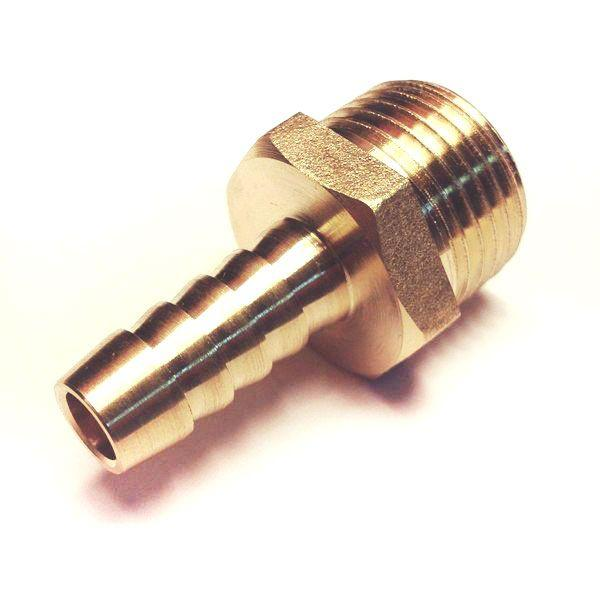 Латунный Штуцер 8 мм , с наружной резьбой 1/2 под шланг 7-8 мм