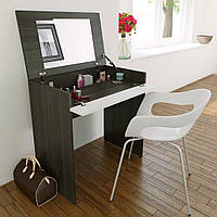 Раскладной туалетный столик с  зеркалом НАЙС, венге темный + белый, фото 1