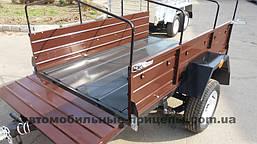 Автомобильный легковой одноосный прицеп Лидер 1.30х2.00х0.40 Усиленные борта рессора Волга или ALKO