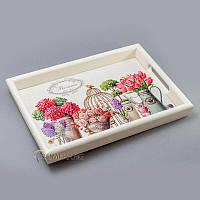 """Поднос с керамической плиткой """"сирень и тюльпаны"""""""