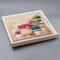"""Поднос деревянный красивый с керамической плиткой """"лаванда"""""""