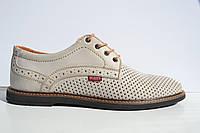 Кожаные туфли Bumer К 4 беж. перфорация, фото 1