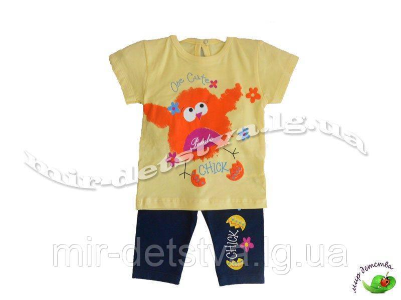 Костюм детский (футболка+капри) для девочки оптом, Турция р.6-9-12-18 мес, желтый