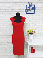 Яркое эффектное платье-футляр с вырезом на груди