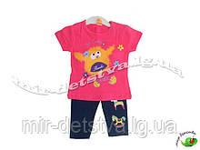 Костюм дитячий (футболка+шорти) для дівчинки оптом, Туреччина р. 6-9-12-18 міс, малина