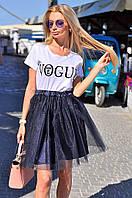Фатиновая юбка пышная цвет темно-синий. Тренд сезона!