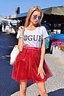 Фатиновая юбка пышная цвет бордо. Тренд сезона!