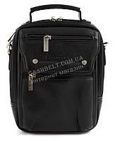 Стильная прочная мужская сумка почтальонка с качественной PU кожи CANTLOR art. 1329-01 черный