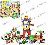 """Конструктор JDLT 5028 """"Зоопарк"""", 116 деталей, машинка, 4 человечка, животные, декор, в коробке 58*47*9,5 см"""