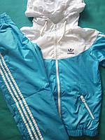 Спортивный костюм детский голубой, плащевка на сетке, размер 98