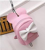 Розовый маленький рюкзак с белым бантом Микки Маус