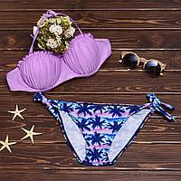 Раздельный купальник бандо с узорными плавками 010KP купить купальник в интернет-магазине