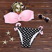 Раздельный купальник бандо с плавками в мелкий горошек 004KPl.pink купить купальник для бассейна
