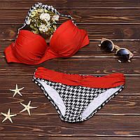 Женский раздельный купальник бикини с пояском и узорными плавками 003KPred