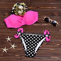 Пляжный купальник бандо с плавками в мелкий горошек 004KPpink