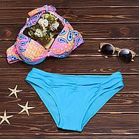 Раздельный купальник хальтер с узорным лифом 009KP купить куавльник онлайн