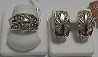 Комплект из серебра и золота Каролина, фото 1
