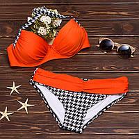 Раздельный купальник бикини с пояском и узорными плавками 003KPorange (4 ед. в упаковке)
