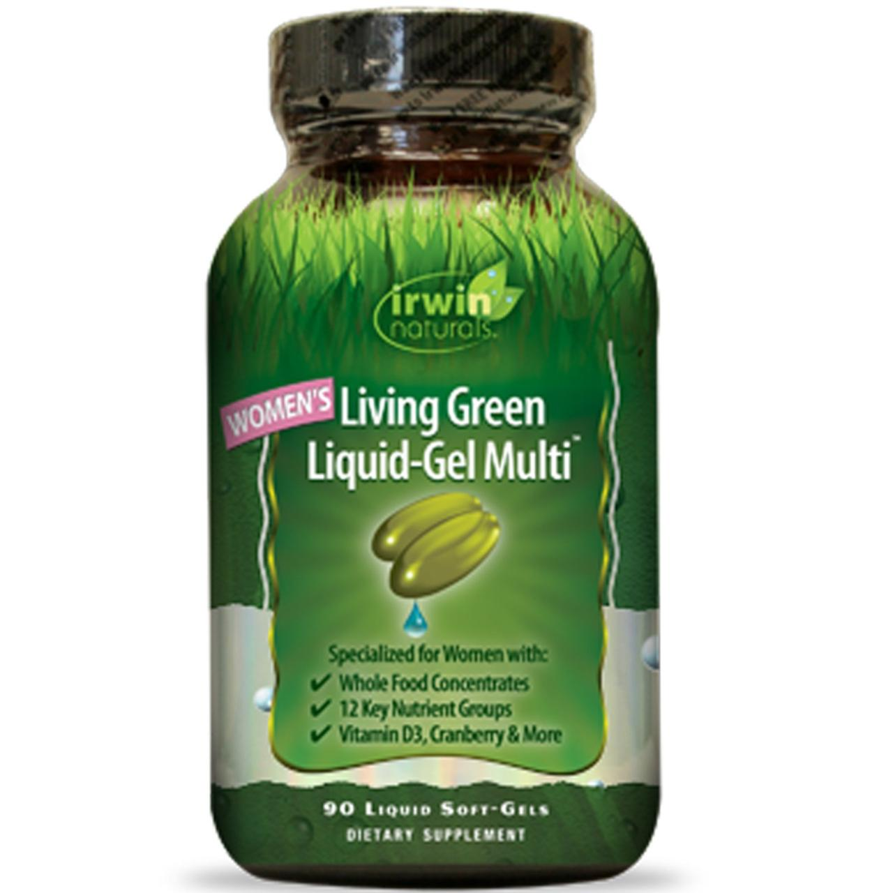 Мультивитамины для женщин «Living Green», Irwin Naturals, 90 капсул