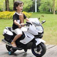 Детский мотоцикл на аккумуляторе M 3208 EL-1, кожа, белый