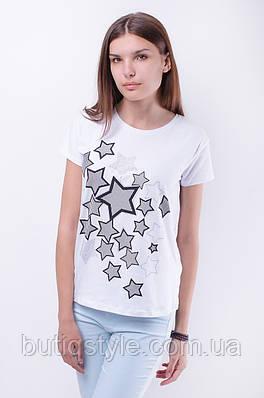 Стильная женская футболка принт звезды